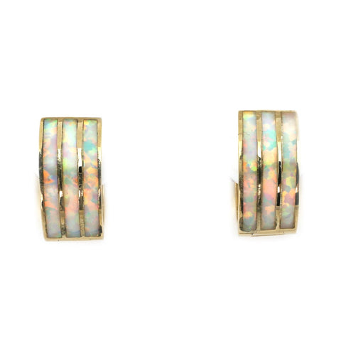 14k Yellow Gold Triple Row White Fire Simulated Opal Inlay Huggie Earrings