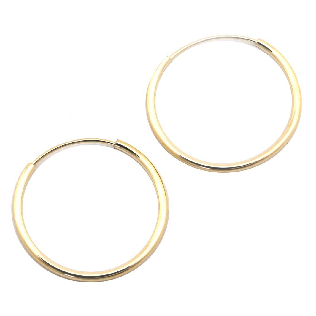 14k Yellow or White Gold 1mm Endless Hoop Earrings – Beauniq