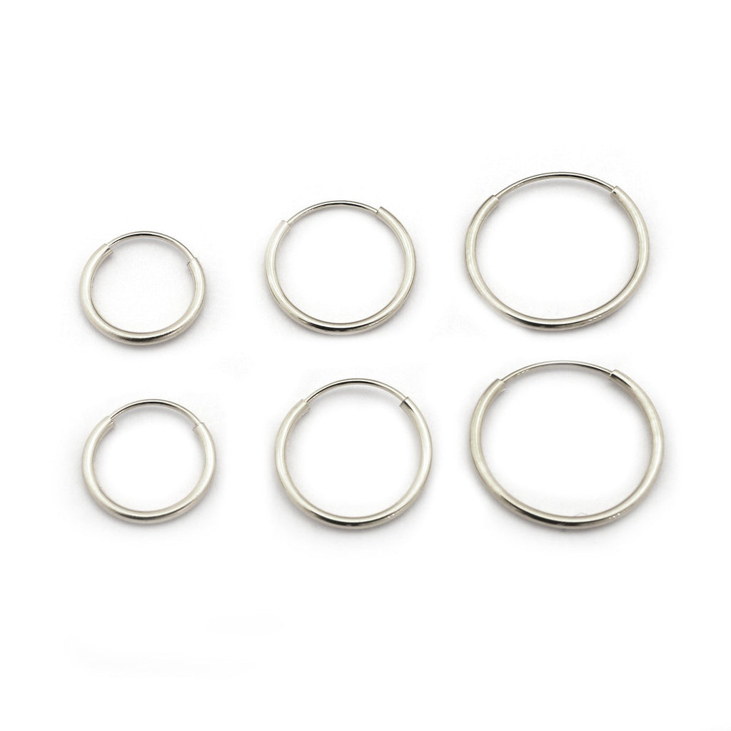 14k Yellow or White Gold 10mm, 12mm and 14mm Endless Hoop Earrings Set