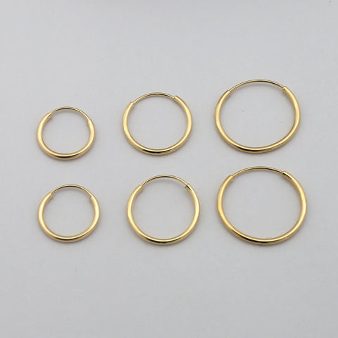 14k White Gold 10mm, 12mm and 14mm Endless Hoop Earrings Set
