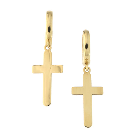 14k Yellow Gold Cross Huggie Dangle Earrings