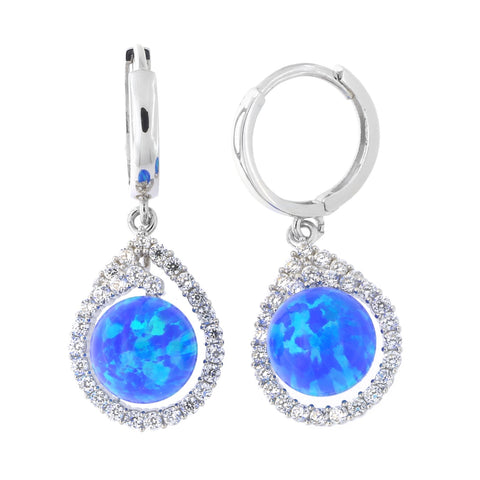 14k White Gold Cubic Zirconia and Blue Simulated Opal Teardrop Huggie Dangle Earrings