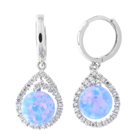 14k White Gold Cubic Zirconia and Light Blue Simulated Opal Teardrop Huggie Dangle Earrings