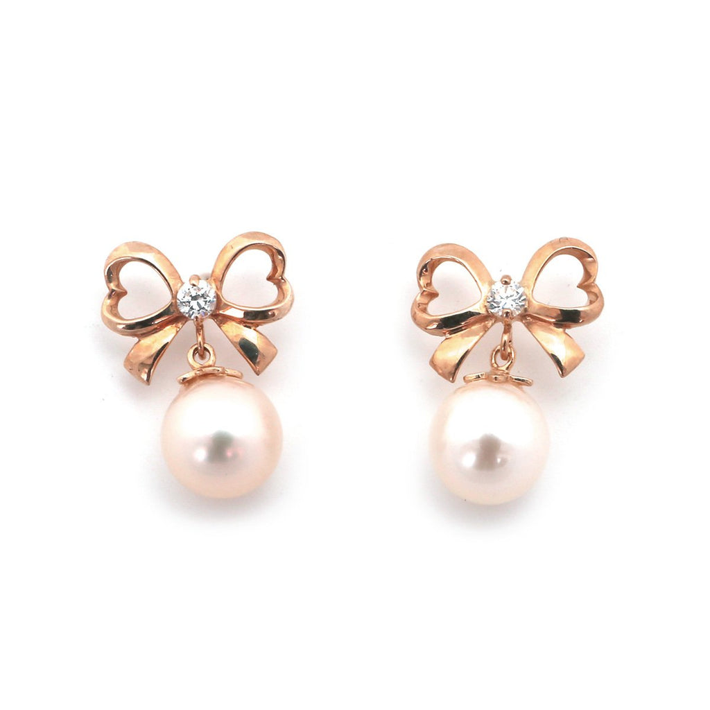 14k Yellow, White or Rose Gold White Freshwater Cultured Pearl CZ Bow Earrings with Child Safe Screwbacks