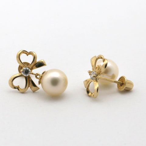 14k Rose Gold White Freshwater Cultured Pearl CZ Bow Dangle Stud Earrings with Child Safe Screwbacks