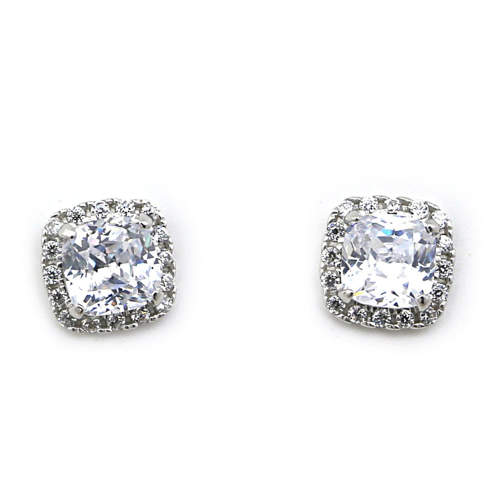 14k Yellow or White Gold Cushion Cut Square Cubic Zirconia Halo Stud Earrings
