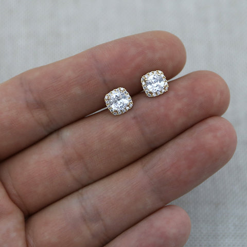 14k White Gold Cushion Cut Square Cubic Zirconia Halo Stud Earrings