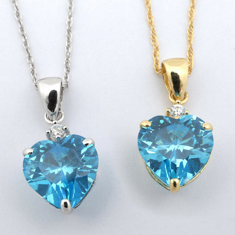 Beauniq 14k Yellow Gold Simulated Blue Topaz and Cubic Zirconia Heart Pendant Necklace - Pendant only