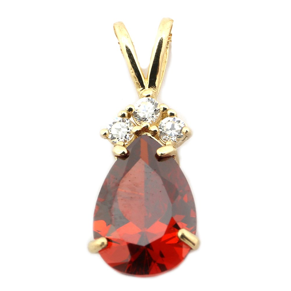 14k Yellow Gold Simulated Birthstone and Cubic Zirconia Pear Cut Pendant Necklace