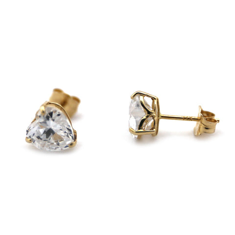 14k White Gold Large 6mm CZ Cubic Zirconia Heart Stud Earrings