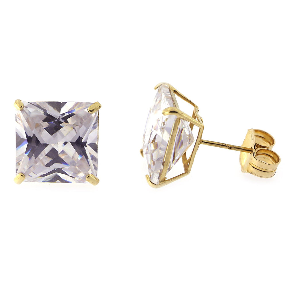 14k Gold Princess Cut Cubic Zirconia Basket Set Stud Earrings