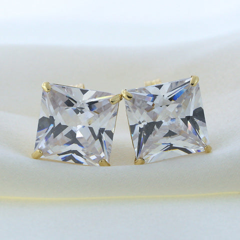 14k Yellow Gold Princess Cut Cubic Zirconia Basket Set Stud Earrings, 10mm (11.24 ctw)