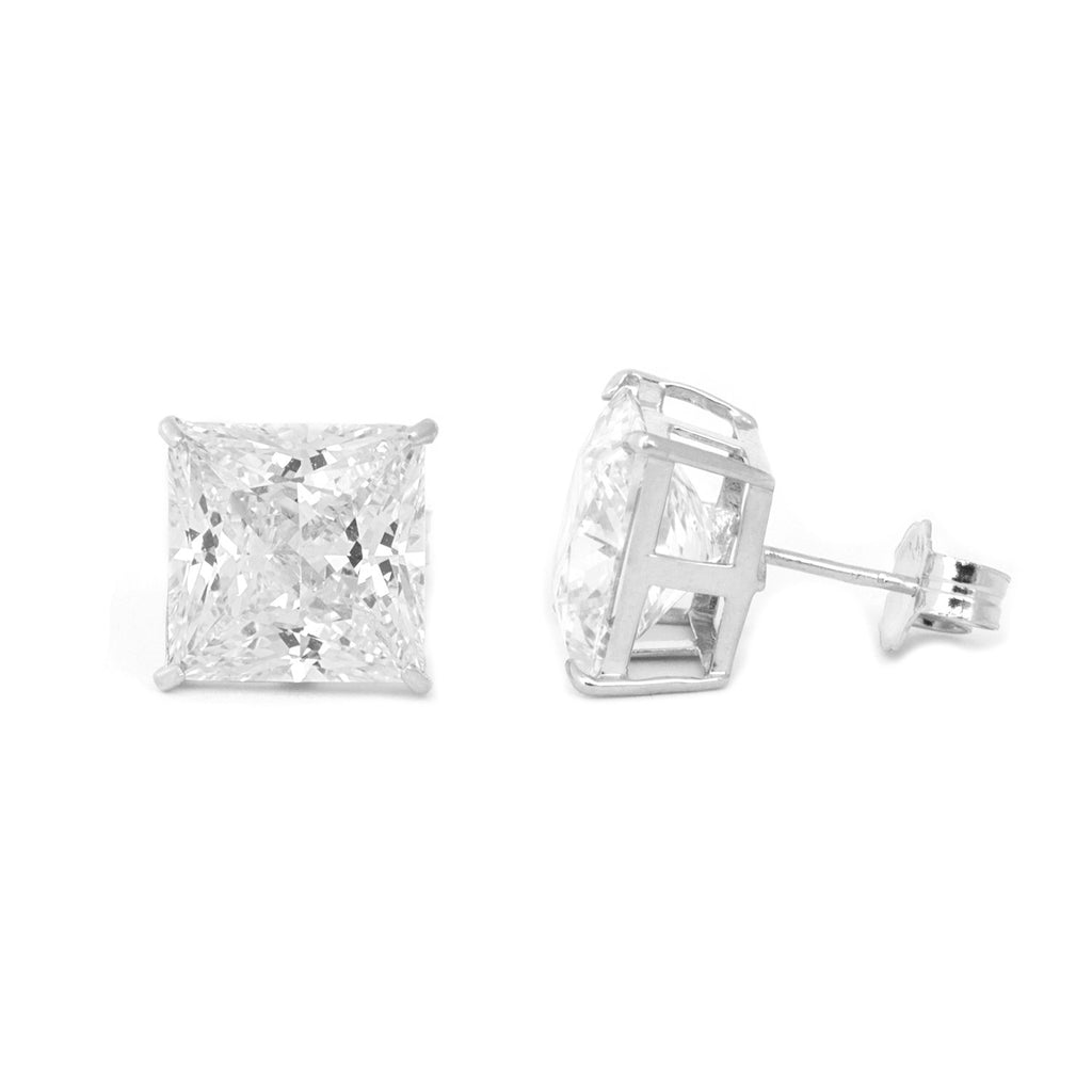 14k White Gold AAA Princess Cut Cubic Zirconia Stud Earrings
