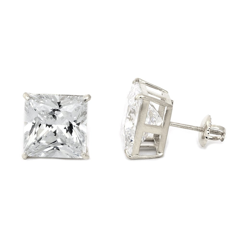 14k White Gold AAA Princess Cut Cubic Zirconia Stud Screwback Earrings