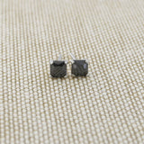 14k Yellow Gold 3mm .5ctw Square Basket Set Black Cubic Zirconia Earrings
