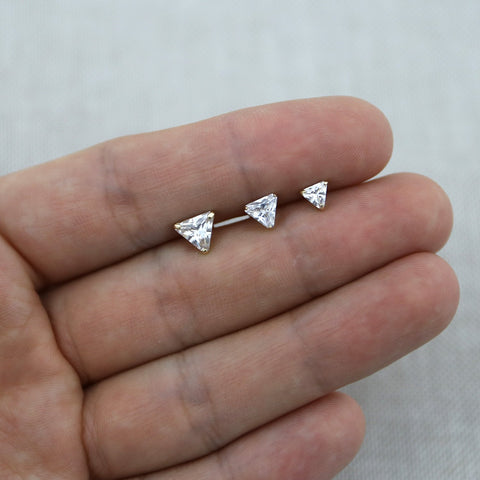 14k White Gold Large 6mm CZ Cubic Zirconia Triangle Stud Earrings