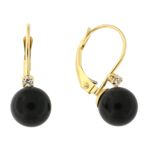 14k Yellow Gold Black Onyx and Cubic Zirconia Leverback Dangle Earrings