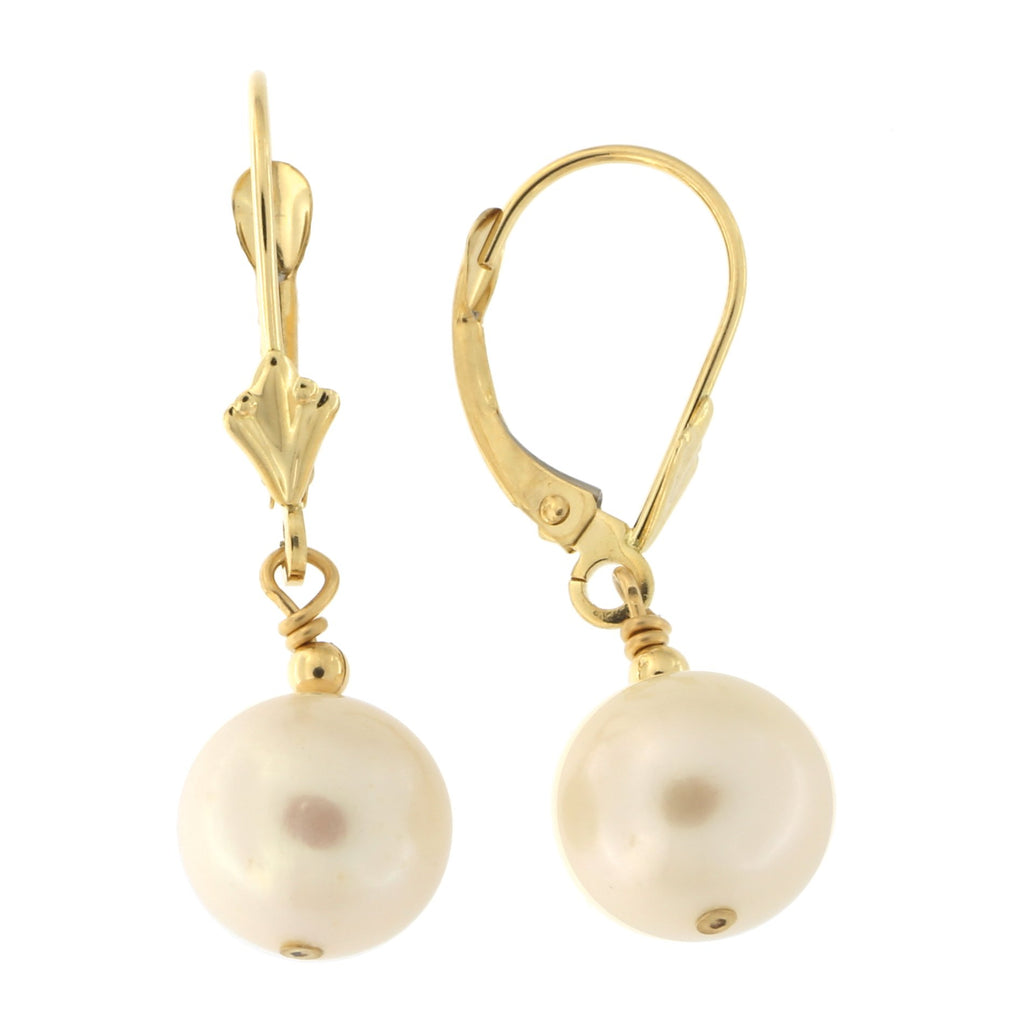 14k Yellow Gold 8mm Freshwater Cultured Pearl Leverback Dangle Earrings