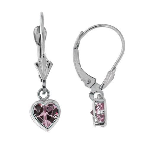 14k White Gold Simulated Pink Tourmaline Heart Leverback Dangle Earrings