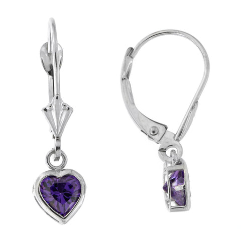 14k White Gold Simulated Amethyst Heart Leverback Dangle Earrings