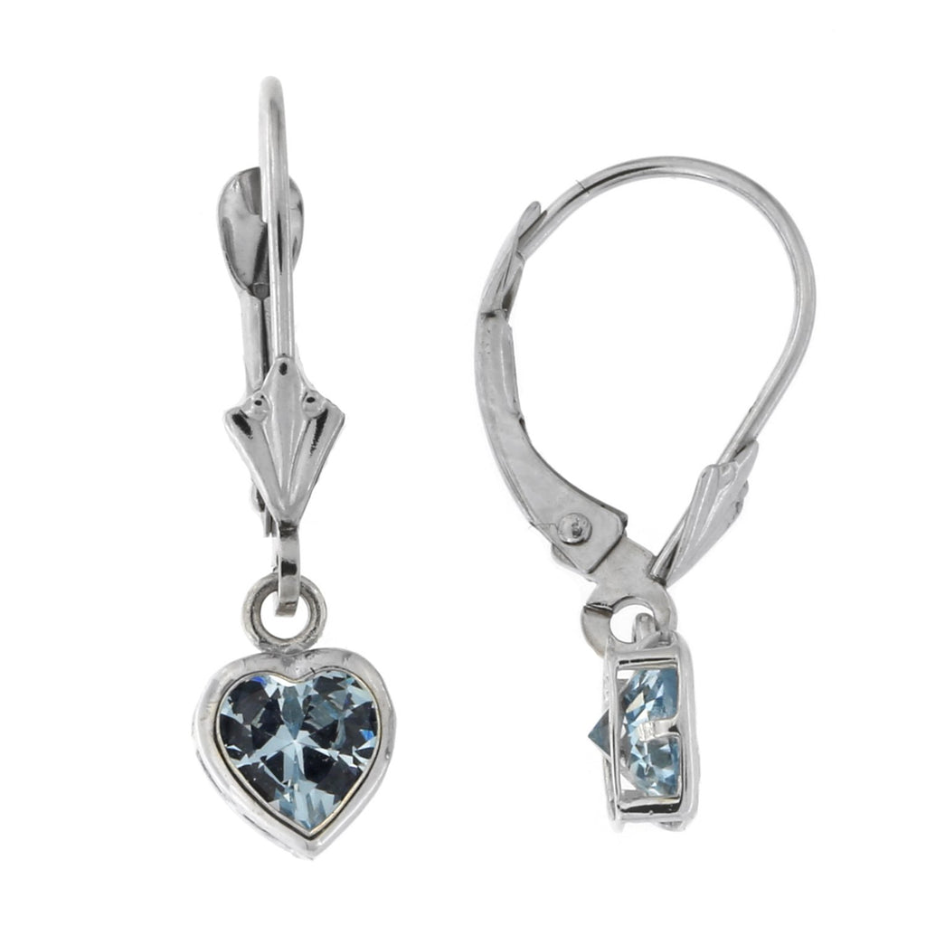 14k White Gold Simulated Aquamarine Heart Leverback Dangle Earrings
