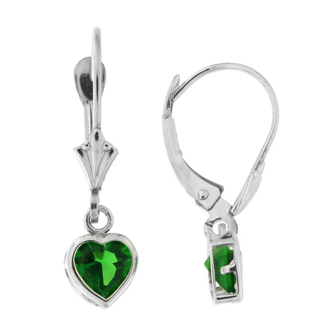 14k White Gold Simulated Emerald Heart Leverback Dangle Earrings