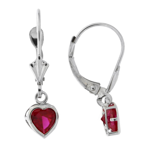 14k White Gold Simulated Ruby Heart Leverback Dangle Earrings