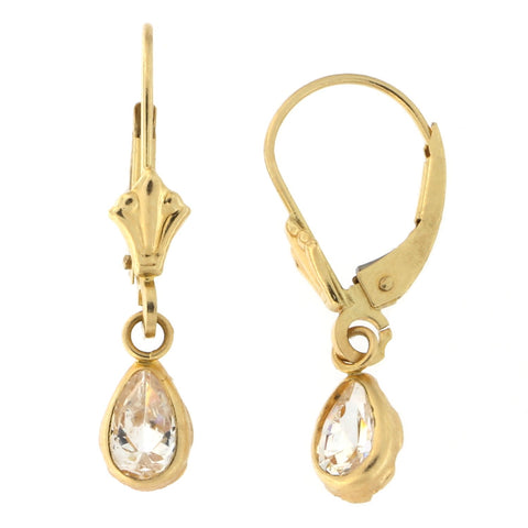 14k Yellow Gold Cubic Zirconia Pear Cut Leverback Dangle Earrings