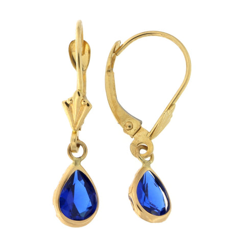 14k Yellow Gold Simulated Sapphire Pear Cut Leverback Dangle Earrings