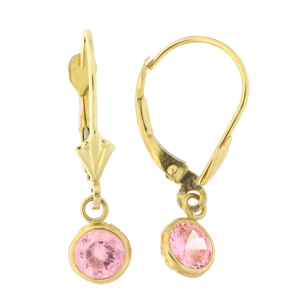 14k Yellow Gold Simulated Pink Tourmaline Leverback Dangle Earrings