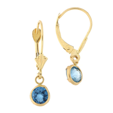 14k Yellow Gold Simulated Blue Topaz Leverback Dangle Earrings