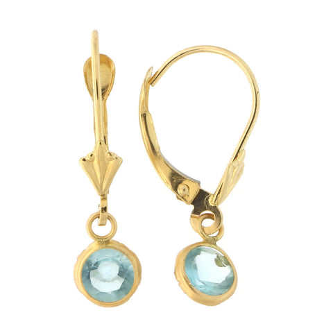 14k Yellow Gold Simulated Aquamarine Leverback Dangle Earrings