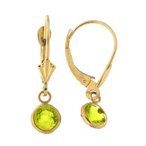 14k Yellow Gold Simulated Peridot Leverback Dangle Earrings