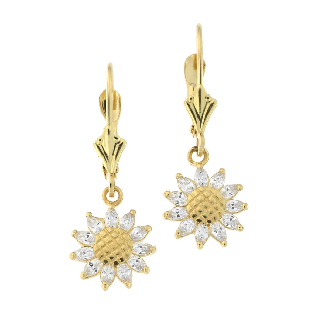 14k Yellow or White Gold Cubic Zirconia Sunflower Leverback Dangle Earrings