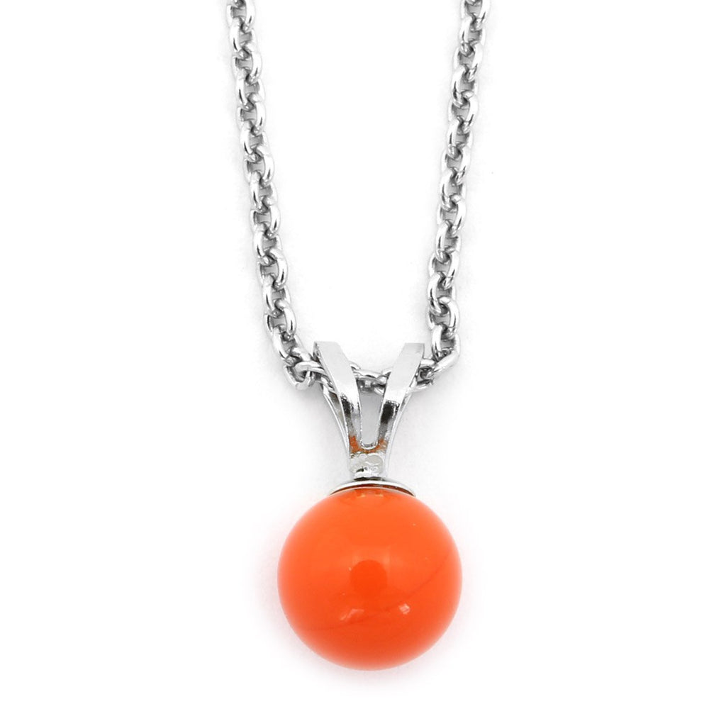 Solid Sterling Silver Rhodium Plated 8mm Simulated Light Red Coral Pendant Necklace, pendant only