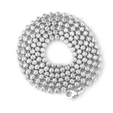 Men's Solid Sterling Silver Rhodium Plated Moon-Cut 3mm Bead Chain Necklace, 20""