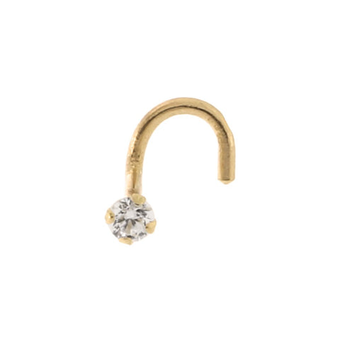 14k Yellow Gold Cubic Zirconia Nose Screw Nose Stud Ring 20 Gauge