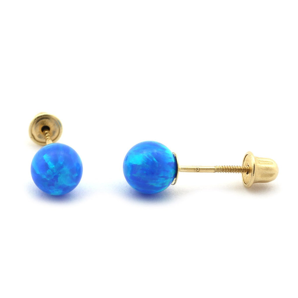 Sterling Silver Rhodium Plated Blue Simulated Opal Ball Stud Earrings with Child Safe Screwbacks - 3mm