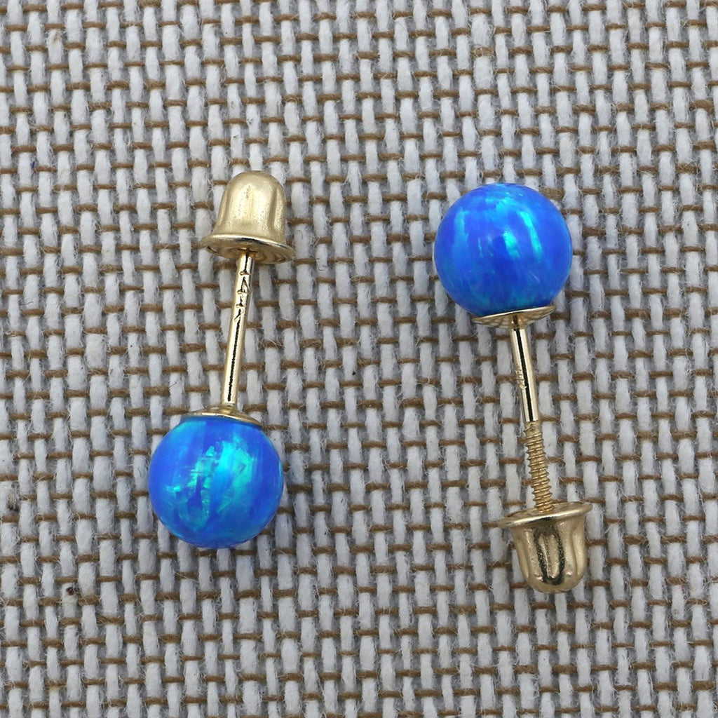 14k Yellow Gold Blue Simulated Turquoise Screw Back Ball Stud Earrings 3mm-8mm 7