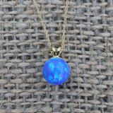 14k White Gold 6mm Blue Simulated Opal Pendant Necklace, pendant only