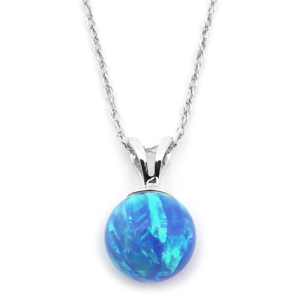 "14k Yellow or White Gold 8mm Blue Simulated Opal Pendant Necklace, 13"" 15"" 16"" 18"" 20"" 22"""