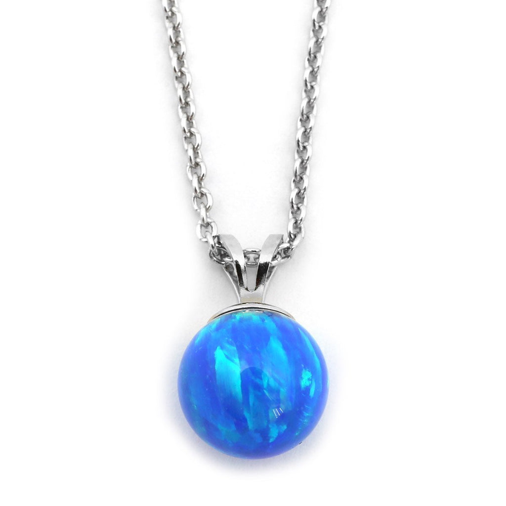 Solid Sterling Silver Rhodium Plated 5mm Blue Simulated Opal Pendant Necklace, pendant only
