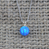 Solid Sterling Silver Rhodium Plated 6mm Blue Simulated Opal Pendant Necklace, pendant only