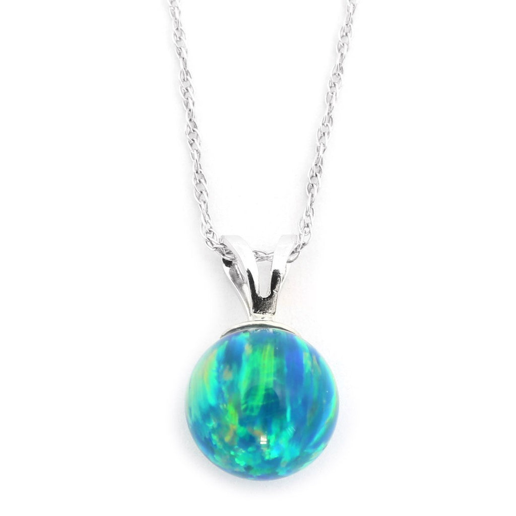 "14k Yellow or White Gold 7mm Green Simulated Opal Pendant Necklace, 13"" 15"" 16"" 18"" 20"" 22"""
