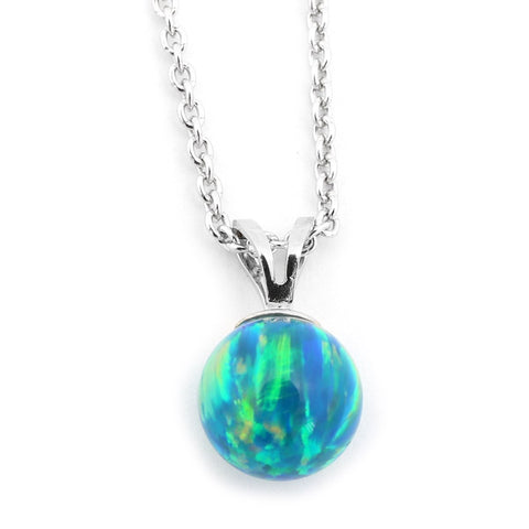 Solid Sterling Silver Rhodium Plated 6mm Green Simulated Opal Pendant Necklace, pendant only