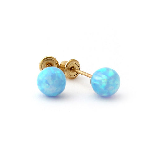 Sterling Silver Rhodium Plated Light Blue Simulated Opal Ball Stud Earrings Child Safe Screwbacks - 3mm