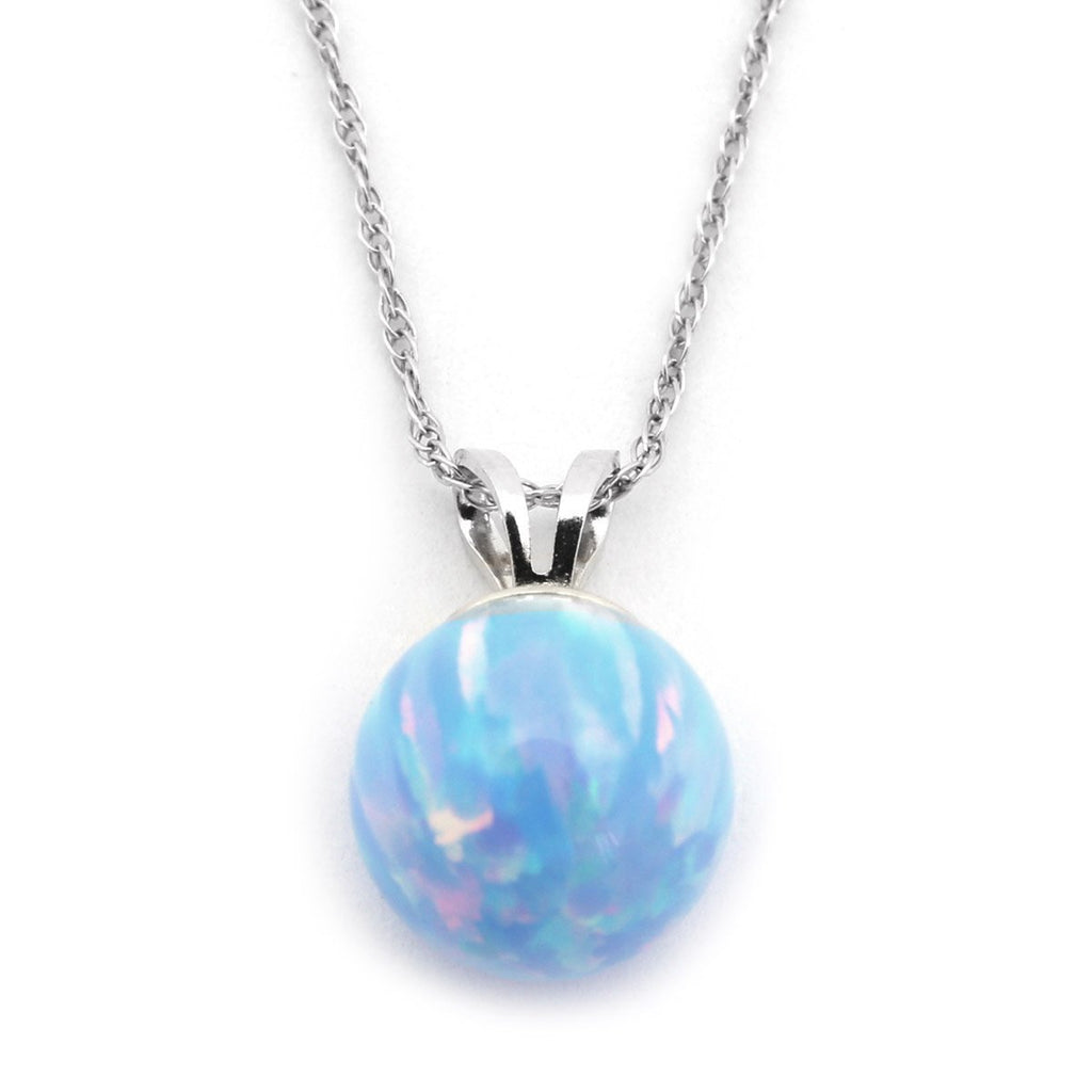 "14k Yellow or White Gold 7mm Light Blue Simulated Opal Pendant Necklace, 13"" 15"" 16"" 18"" 20"" 22"""