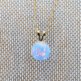 14k White Gold 8mm Light Blue Simulated Opal Pendant Necklace, pendant only