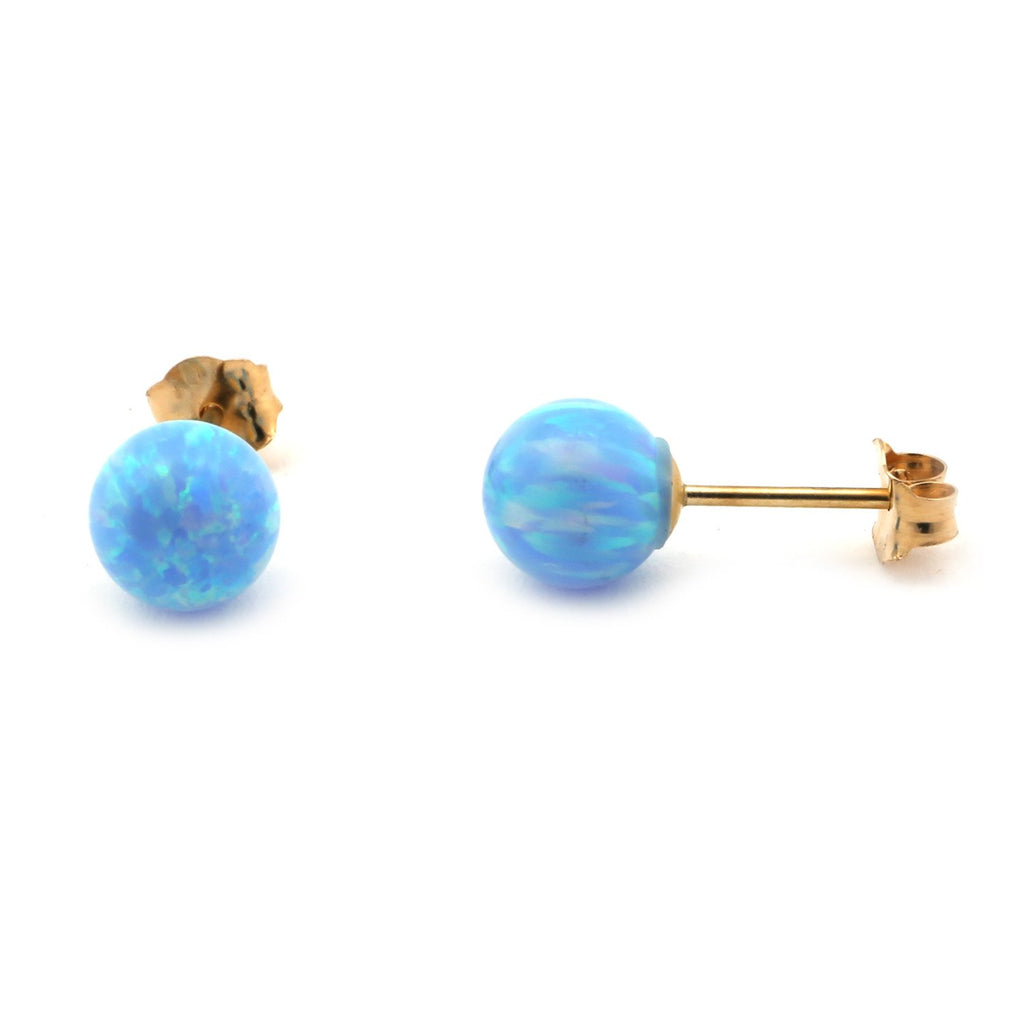 14k Gold or Sterling Silver Light Blue Simulated Opal Ball Stud Earrings