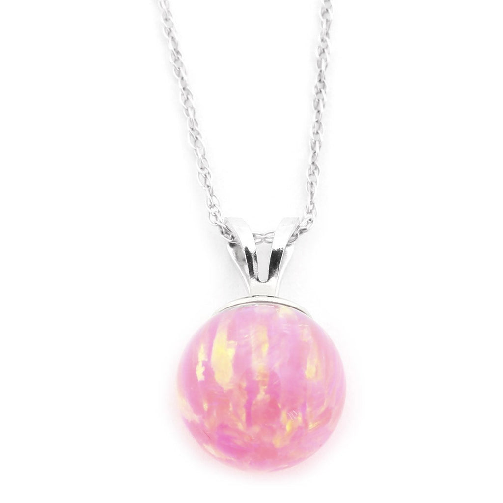 "14k Yellow or White Gold 7mm Neon Pink Simulated Opal Pendant Necklace, 13"" 15"" 16"" 18"" 20"" 22"""